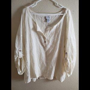 Soft Surroundings Ivory Linen Button Boho Blouse